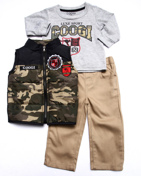 COOGI - Boys Camo 3 Pc Set - Vest, Tee, & Jeans (Infant)