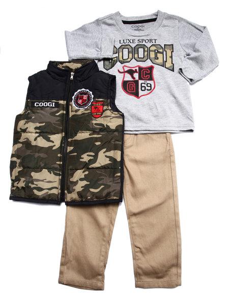 COOGI - Boys Camo 3 Pc Set - Vest, Tee, & Jeans (2T-4T)