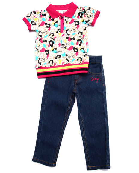 Coogi - Girls Multi 2 Pc Set -  Allover Print Polo & Jean (2T-4T) - $23.99