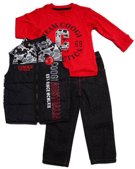 COOGI - Boys Black 3 Pc Set - Vest, Tee, & Jeans (2T-4T)