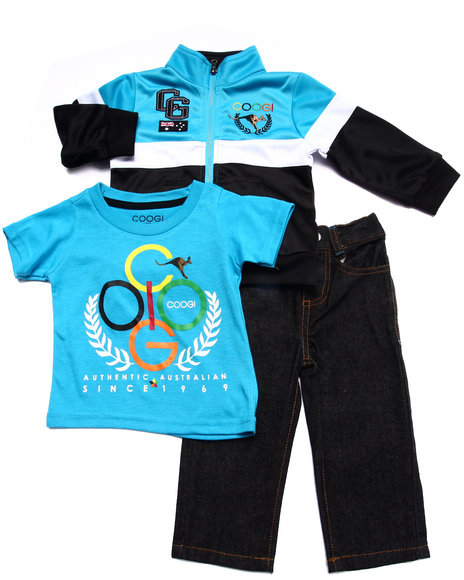 COOGI - Boys Blue 3 Pc Set - Tricot Jkt, Tee, & Jeans (Infant)