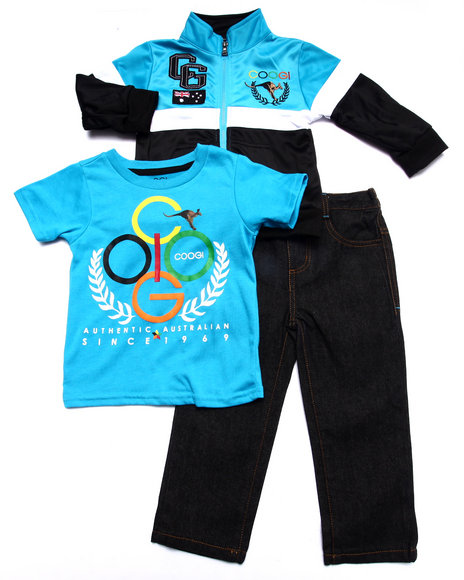 COOGI - Boys Blue 3 Pc Set - Tricot Jkt, Tee, & Jeans (2T-4T)