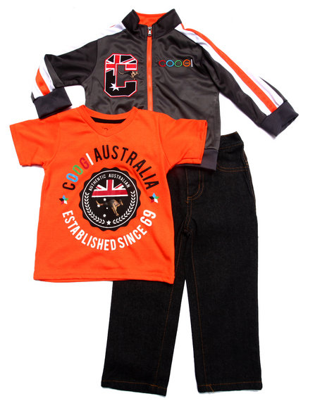 COOGI - Boys Grey 3 Pc Set - Tricot Jkt, Tee, & Jeans (2T-4T)
