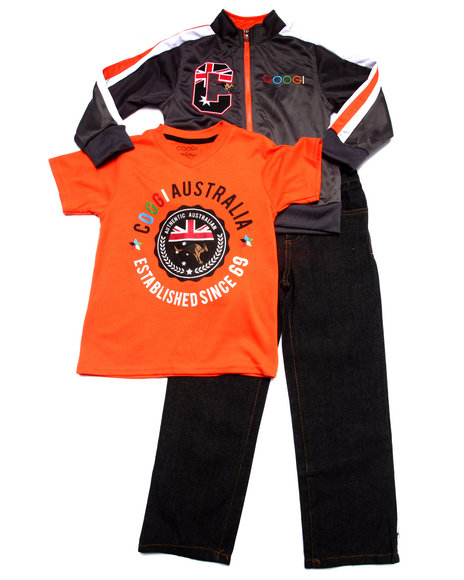COOGI - Boys Grey 3 Pc Set - Tricot Jkt, Tee, & Jeans (4-7)