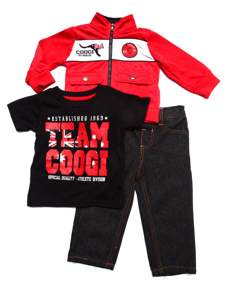COOGI - Boys Red 3 Pc Set - Tricot Jkt, Tee, & Jeans (Infant)