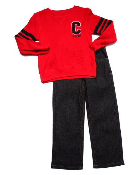 Coogi - Boys Red 2 Pc Set - Thermal & Jeans (4-7)