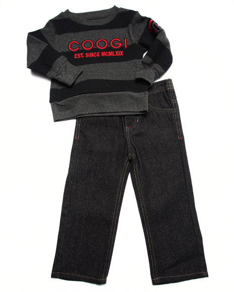 Coogi - Boys Black 2 Pc Set - Thermal & Jeans (2T-4T)