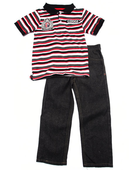 Coogi - Boys Red 2 Pc Set - Striped Polo & Jeans (4-7)