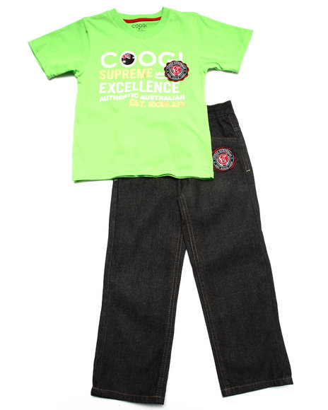 COOGI - Boys Lime Green 2 Pc Set - Tee & Jeans (4-7)