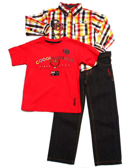 COOGI - Boys Red 3 Pc Set - Plaid Woven, Tee, & Jeans (4-7)