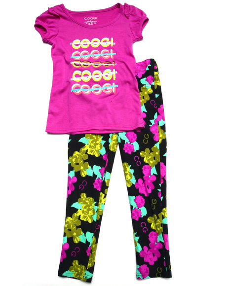 Coogi - Girls Purple 2 Pc Set - Tee & Pants (4-6X) - $29.99