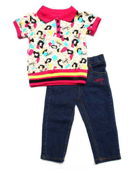 Coogi - Girls Multi 2 Pc Set -  Allover Print Polo & Jean (Infant) - $17.99