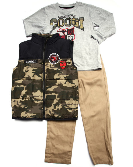 COOGI - Boys Camo 3 Pc Set - Vest, Tee, & Jeans (4-7)