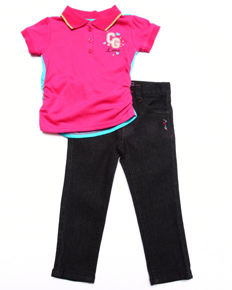 Coogi - Girls Pink 2 Pc Set - Color Block Polo & Jean (2T-4T) - $27.99