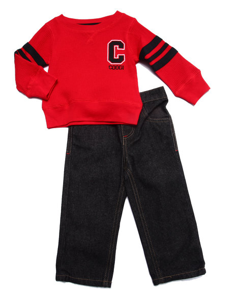 Coogi - Boys Red 2 Pc Set - Thermal & Jeans (Infant)