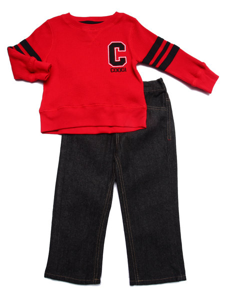 Coogi - Boys Red 2 Pc Set - Thermal & Jeans (2T-4T)