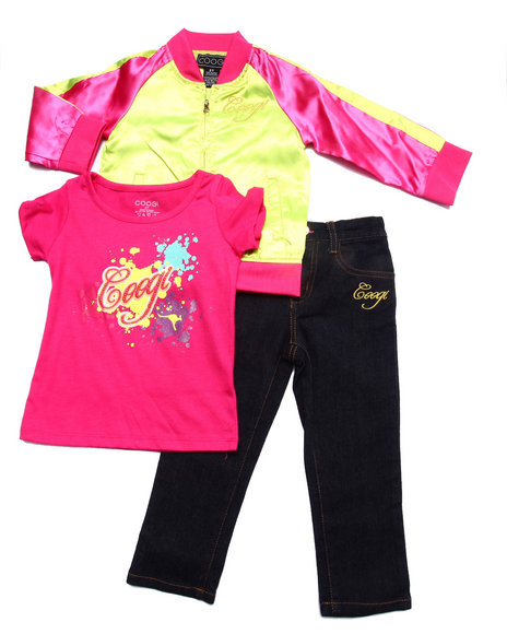 Coogi - Girls Pink 3 Pc Set - Satin Varsity Jacket, Tee, & Jeans (2T-4T) - $41.99