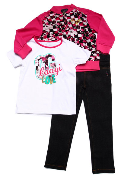 Coogi - Girls Pink 3 Pc Set - Printed Jacket, Tee, & Jeans (4-6X) - $35.99