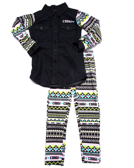 Coogi - Girls Multi 2 Pc Set - Chambray Top & Printed Leggings (4-6X) - $38.99