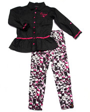 Girls - 2 PC SET - CHAMBRAY TOP & PRINTED LEGGINGS (4-6X)