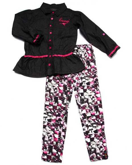 Coogi - Girls Multi 2 Pc Set - Chambray Top & Printed Leggings (4-6X) - $35.99