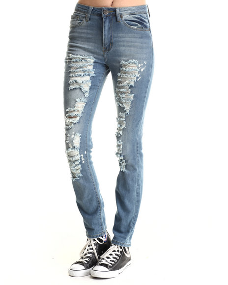 Basic Essentials - Women Light Blue Back In A Flash Skinny Jeans W/Tears
