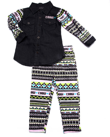 Coogi - Girls Black 2 Pc Set - Chambray Top & Printed Leggings (2T-4T)