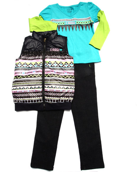 COOGI - Girls Black 3 Pc Set - Aztec Vest, Tee, & Jeans (4-6X)