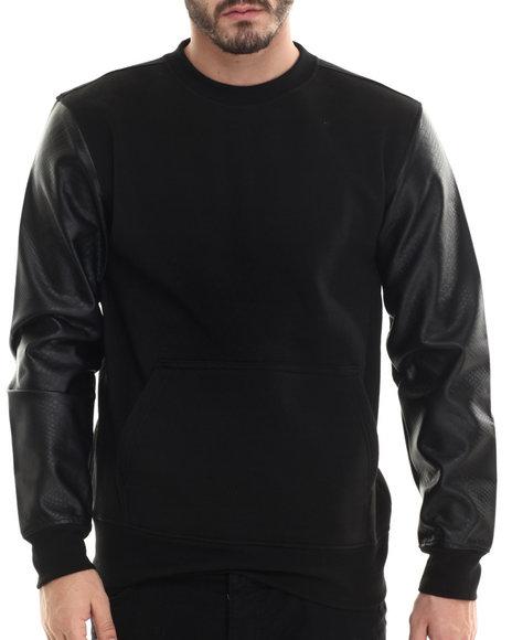 Buyers Picks - Men Black Fleece Sweatshirt W/ Faux Leather Kangaroo Pockets