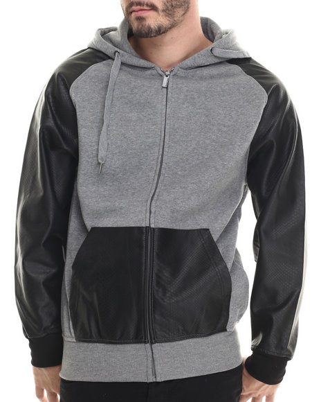 Buyers Picks - Men Grey Fleece Full Faux Leather Sleeve Zip Hoody