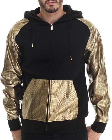Buyers Picks - Men Gold Fleece Full Faux Leather Sleeve Zip Hoody