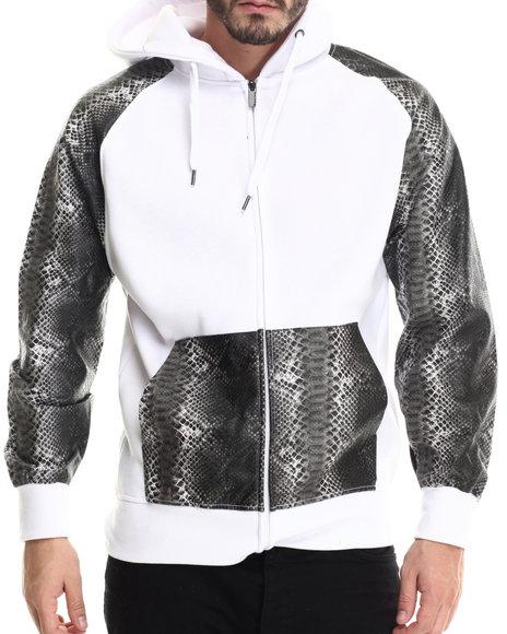Buyers Picks - Men White Fleece Full Faux Leather Sleeve Zip Hoody