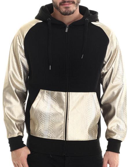 Buyers Picks - Men Black Fleece Full Faux Leather Sleeve Zip Hoody