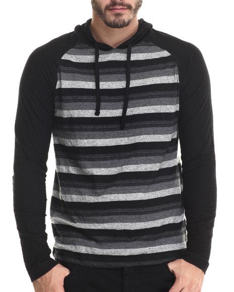 Buyers Picks - Men Black Striped L/S Pullover Hoody