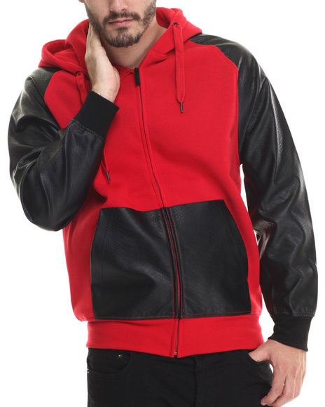 Buyers Picks - Men Red Fleece Full Faux Leather Sleeve Zip Hoody