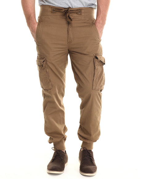 Buyers Picks - Men Tan Lt Twill Cargo Jogger Pants