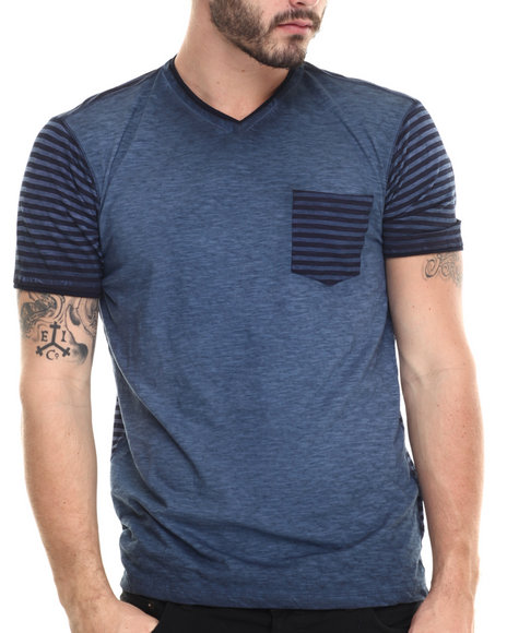 Buyers Picks - Men Blue V-Neck Striped S/S Tee