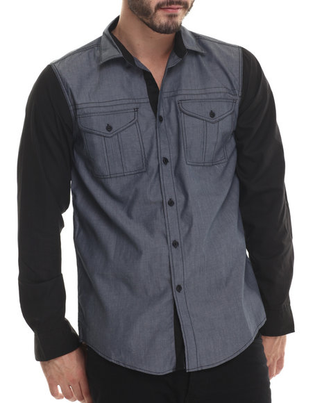Buyers Picks - Men Navy Chambray & Black Trim Detailed Button Down Shirt