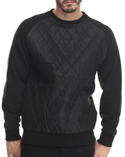 Men - Diamond Quilted Faux Leather Sweatshirt