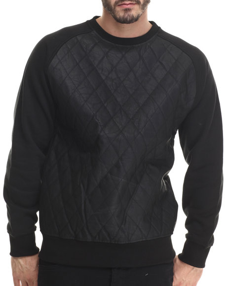 Buyers Picks - Men Black Diamond Quilted Faux Leather Sweatshirt