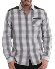Men - Plaid Button Down shirt w/ faux leather should detailing