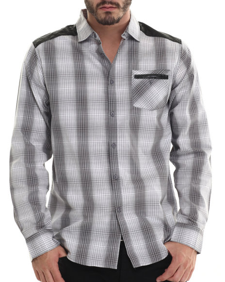Buyers Picks - Men White Plaid Button Down Shirt W/ Faux Leather Should Detailing