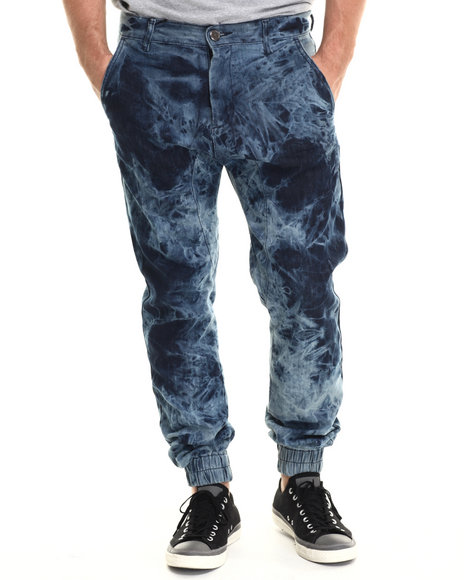 Double Needle - Men Dark Wash Tye Dye Jogger