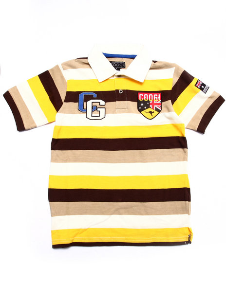 Coogi - Boys Brown S/S Striped Polo (8-20)