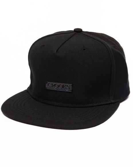 Crooks & Castles Men Crooks Metal Badge Strapback Cap Black - $28.99