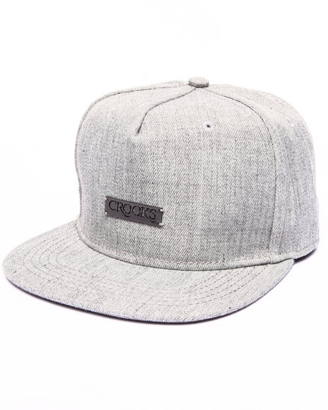 Crooks & Castles Men Crooks Metal Badge Fitted Cap Grey - $40.00