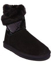 "Footwear - Snow Dazzle 8"" Sequin Shaft Exposed Fur Wrap Bootie"