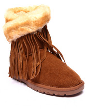 "Footwear - Fringe Wrap 8"" Exposed Faux Fur Suede Tassels Bootie"