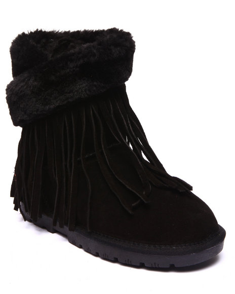 Lamo - Women Black Fringe Wrap 8