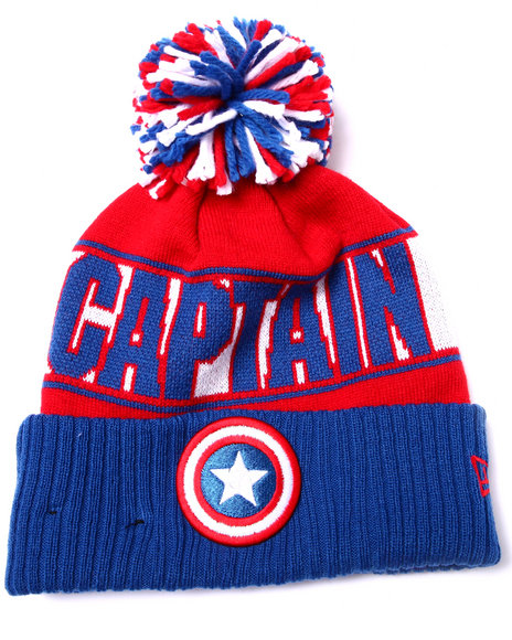 New Era Men Captain America Rep Ur Team Knit Hat Blue